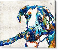 Great Dane Art - Stick With Me - By Sharon Cummings Acrylic Print by Sharon Cummings