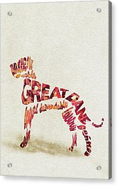 Great Dane Watercolor Painting / Typographic Art Acrylic Print