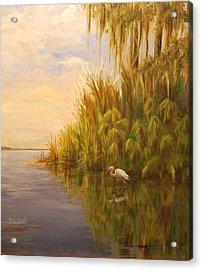 Great Egret On Marsh Acrylic Print by Beth Maddox