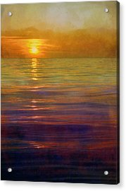 Acrylic Print featuring the digital art Great Lakes Setting Sun by Michelle Calkins