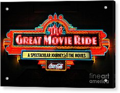Great Movie Ride Neon Sign Hollywood Studios Walt Disney World Prints Ink Outlines Acrylic Print by Shawn O'Brien