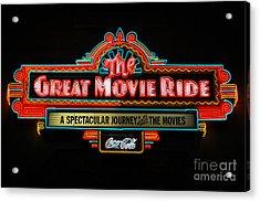 Great Movie Ride Neon Sign Hollywood Studios Walt Disney World Prints Acrylic Print