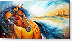 Great Plains Warrior An Indian War Pony Acrylic Print