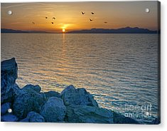 Great Salt Lake At Sunset Acrylic Print