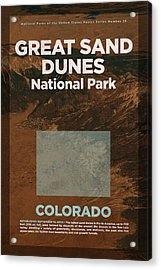 Great Sand Dunes National Park In Colorado Travel Poster Series Of National Parks Number 26 Acrylic Print by Design Turnpike