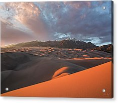 Great Sand Dunes Sunset Acrylic Print by Aaron Spong