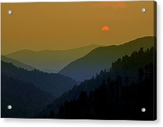 Great Smoky Mountain Sunset Acrylic Print by Thomas Schoeller
