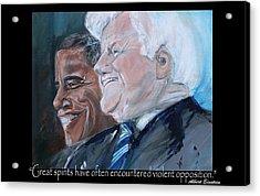Great Spirits - Teddy And Barack Acrylic Print by Valerie Wolf