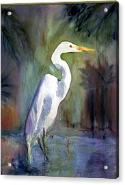 Great White Egret Acrylic Print by Carol Sprovtsoff