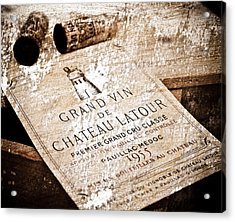 Great Wines Of Bordeaux - Chateau Latour 1955 Acrylic Print by Frank Tschakert