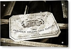 Great Wines Of Bordeaux - Chateau Margaux 1961 Acrylic Print