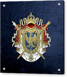 Greater Coat Of Arms Of The First French Empire Over Blue Velvet Acrylic Print