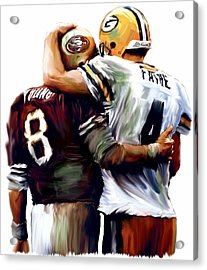 Greatness  Brett Favre And Steve Young  Acrylic Print by Iconic Images Art Gallery David Pucciarelli