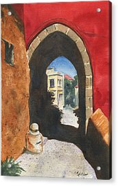 Grecian Passageway Acrylic Print by Marsha Elliott