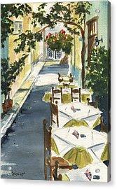 Grecian Taverna Acrylic Print by Marsha Elliott