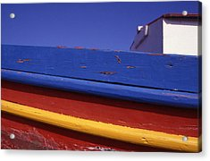 Greece. Colorful Fishing Boat Acrylic Print by Steve Outram