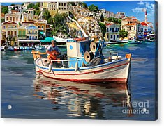 Greece Fisherman Acrylic Print