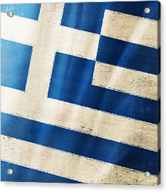 Greece Flag Acrylic Print