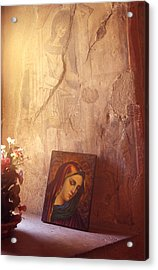 Greece. Lesvos. 16th Century Fresco And Virgin Mary Icon Acrylic Print by Steve Outram