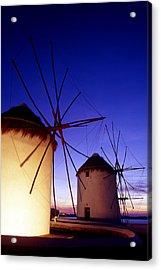 Greece. Mykonos Town. Illuminated Windmills At Dusk. Acrylic Print by Steve Outram
