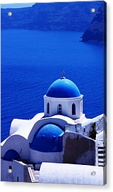 Greek Blue Vertical Acrylic Print by Paul Cowan