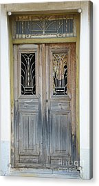 Greek Door With Wrought Iron Window Acrylic Print by Maria Varnalis