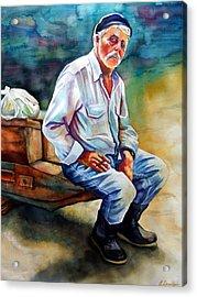 Greek Fisherman Acrylic Print by Gail Zavala
