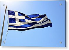 Greek Flag Acrylic Print by Corinne Rhode