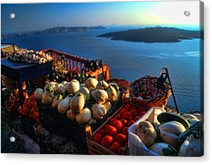 Greek Food At Santorini Acrylic Print by David Smith