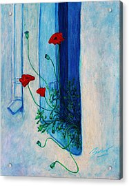 Acrylic Print featuring the painting Greek Poppies by Xueling Zou