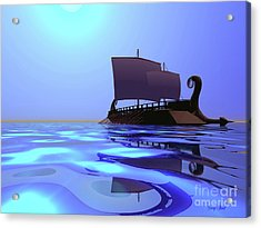 Greek Ship Acrylic Print by Corey Ford