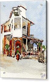Greek Taverna. Acrylic Print by Mike Lester
