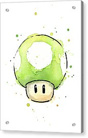 Green 1up Mushroom Acrylic Print by Olga Shvartsur