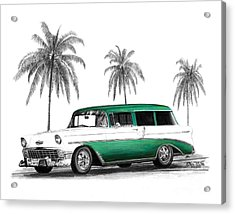 Green 56 Chevy Wagon Acrylic Print by Peter Piatt