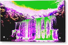 Green And Purple Waterfall Acrylic Print by Erika Swartzkopf