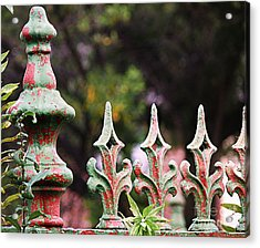 Green And Red Iron Fence Acrylic Print