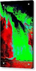 Green And Red Nightfall Acrylic Print by Erika Swartzkopf