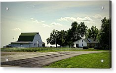 Green And White Farm Acrylic Print by Cricket Hackmann
