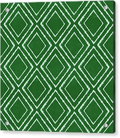 Green And White Inky Diamonds- Art By Linda Woods Acrylic Print