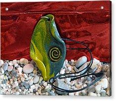 Green And Yellow Spiral Pendant Acrylic Print by Chara Giakoumaki