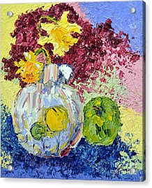 Green Apple And Daffodils Acrylic Print by Lynda Cookson