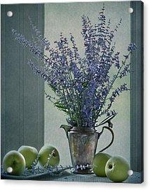 Green Apples In The Window Acrylic Print by Maggie Terlecki