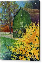Acrylic Print featuring the painting Green Barn by Hailey E Herrera