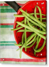 Green Beans Red Collander Acrylic Print