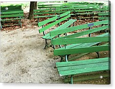 Green Benches- Fine Art Photo By Linda Woods Acrylic Print by Linda Woods
