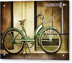 Green Bicycle Acrylic Print by Carol Leigh