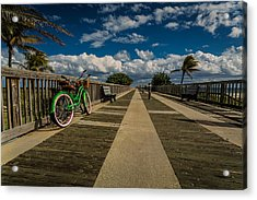Green Bike At The Beach Acrylic Print