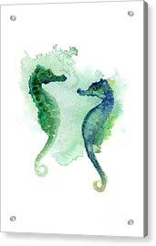Green Blue Seahorses Watercolor Art Print Acrylic Print