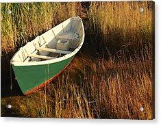 Green Boat Acrylic Print by AnnaJanessa PhotoArt