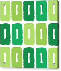 Green Boxes- Art By Linda Woods Acrylic Print by Linda Woods